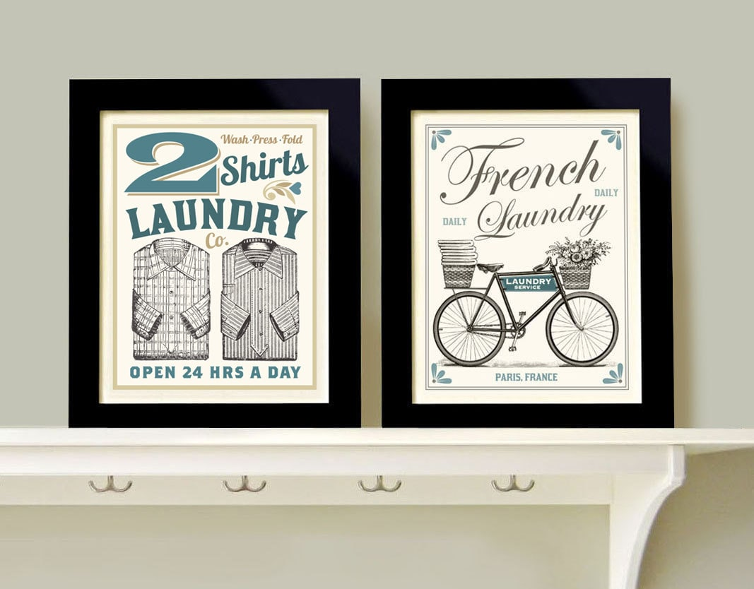 Laundry room decor wall art print grouping 2 prints french for Room decor wall art