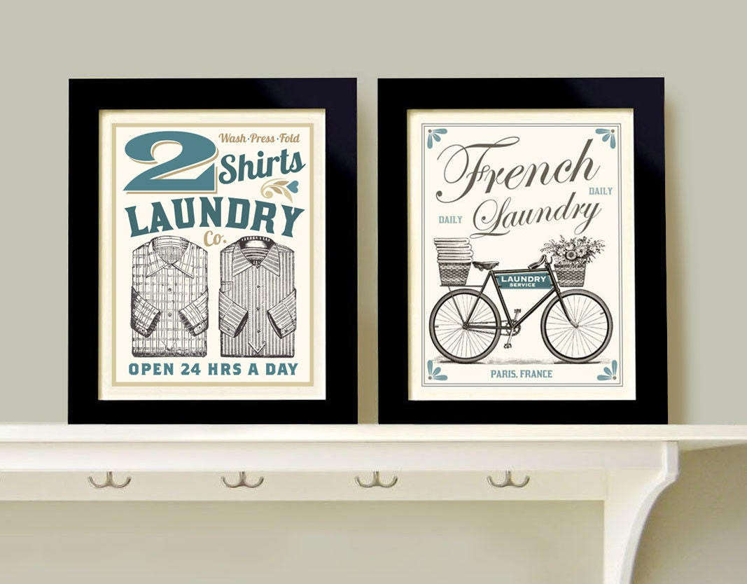 Laundry room decor wall art print grouping 2 prints french for Room decor art