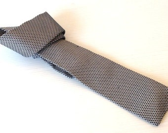 versace necktie, gianni versace skinny tie, blue white straight edge tie,  high fashion tie, silk necktie, silk knitted tie