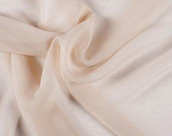 """54"""" Wide 100% Silk Chiffon Beige By the Yard"""