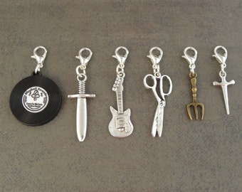 MELEE WEAPON Charm Set  2 - For The Create Your Own The Walking Dead Zombie Apocalypse Charm Bracelet - Set Of 6 - Zombie Survival Kit