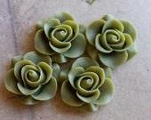 21 mm Fern Green Colour Rose Resin Flower Cabochons (ZZP) (.sg)
