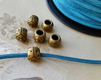 10 mm Antiqued Bronze Metal Beads/ Spacer Beads / Beetle Shape (.ti)