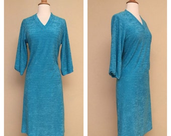 Vintage 80s Teal Terry Cloth Dress - 1980s Turquoise Bathing Suit Cover Up Size Small Medium