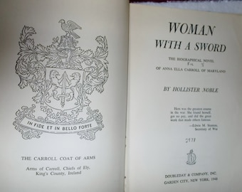 Woman With A Sword By Hollister Noble Historical Biography Novel Tennesee Plan Civil War Anna Carroll Free Shipping Included