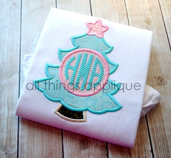 Christmas tree monogram circle applique