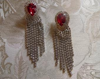 Glamorous Lipstick Red Rhinestone Dangle Earrings