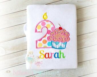 Cupcake birthday shirt - Girls birthday shirt - rainbow cupcake birthday shirt - personalized birthday shirt - embroidered birthday shirt