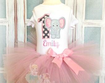 Elephant birthday outfit - 1st birthday elephant outfit - gray and pink - elephant tutu outfit - pink elephant- personalized birthday outfit