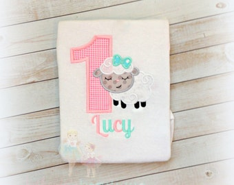 Lamb birthday shirt - first birthday shirt - Baby girls 1st Easter shirt - Little lamb Easter shirt - custom embroidered shirt