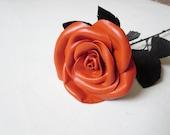 Leather Rose -Black Flower,  oranfe rose -Long Stem,Gift anniversary,