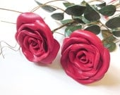 Red Rose -long Stem Flower -  Leather  bouquet  Wedding 3rd Anniversary Gift  Valentines Day