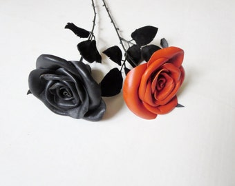 Leather Rose -Black Flower,  oranfe rose -Long Stem,Gift anniversary,