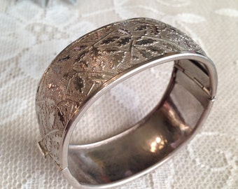 Ornate Silver Metal Cuff Bracelet