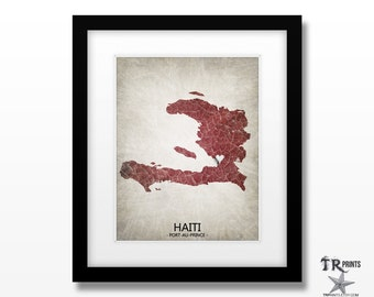 Haiti Map Art Print - Home Is Where The Heart Is Love Map - Original Custom Map Art Print Available in Multiple Sizes