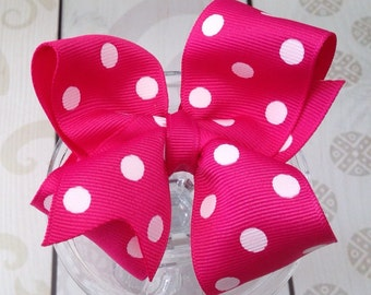 Girls hair bow Polka dot bow, girls hair clip, birthday gift, stocking stuffer, hot pink bow, hot pink polka dots bow, party favors