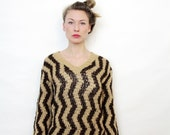 Vintage Semi Sheer V Neck Brown and Tan Zig Zag Pattern Hand Knit Sweater