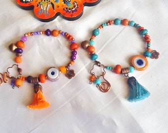 SALE---- GYPSY S LUCK Bracelets - Evil eye jewelry-Ethnic jewelry -Turkish evil eye-Gypsy jewelry -Ethnic jewelry