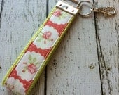 Blush tea roses key fob wristlet on lime green cotton webbing with swivel lobster clasp