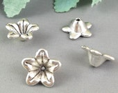 Silver Bead Caps -25pcs Antique Silver Flower End Cap Charms 6x13mm Tibetan AB302-2