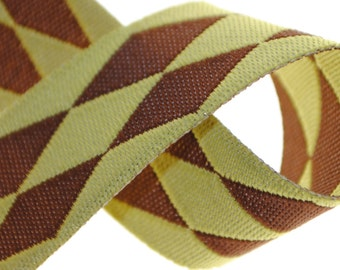 Harlequin Pistachio and Brown - 2 Yards Jacquard Trim 5/8 inches wide