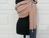 Tencel and Silk Ring Sling, Baby Carrier, with Gray silk Tail OOAK, SALE