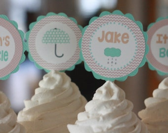 12 Cupcake Toppers - Taupe Brown & Aqua Blue Umbrella Sprinkle Theme Baby Shower Cupcake or Cake Toppers- Ask About our Party Pack Sale