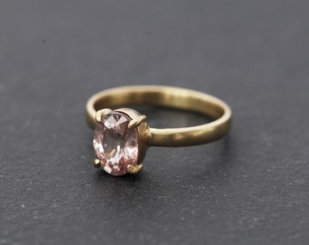 Unique Engagement Ring - Pink Zircon Engagement Ring - Solitaire 18K Gold Ring - Pink Gemstone Engagement Ring - Size 5 - Free Shipping
