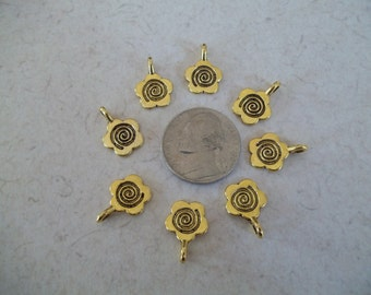 10 Glue on Flower Gold Tone Bails Flat Back