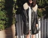 1970s Fur Trim Leather Coat, Medium, White Fur Collar