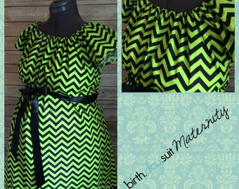 Maternity Hospital Labor Gown- green and black chevron. Black band