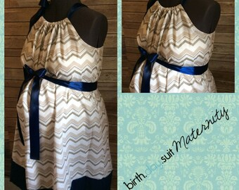 Maternity Hospital Gown: gray and white chevron, navy band