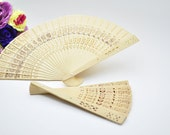 12 Sandalwood Wedding Fans Favors Bridal Shower Favors Chinese Wood Wooden