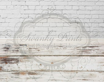 "ALL IN ONE 60"" x 123"" Vinyl photography Backdrop  / Distressed White Brick and Worn Wood"