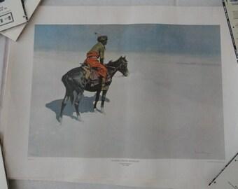 A577)  Vintage The Scout:  Friends or Enemies?  Frederic Remington print