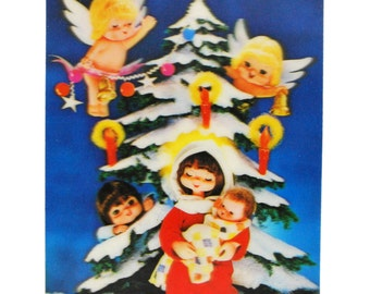 Vintage 3D Lenticular Holiday Flasher Postcard - Mary & Baby Jesus - Wonder Co., Japan // 1950s Christmas Card with Angels Trimming the Tree