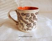 Large Ceramic Coffee Mug Cup Decorative Unique Photography Prop Gift for Him Her Artisan Mug, Dark Orange, Original Art Fall Kitchen Decor