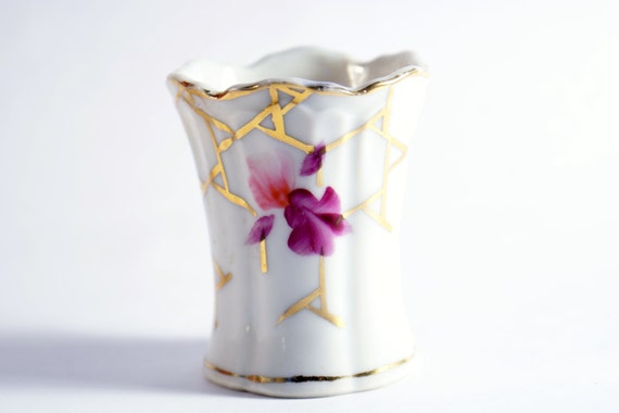 Floral Pattern Holder Toothpick Vintage Ceramic Painted Gold Tooth Pick Handpainted Japanese