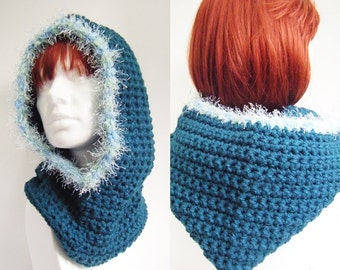 Teal Crochet Hooded Cowl Neckwarmer Snood