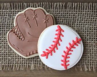 T Ball Favors / Baseball Favors / T Ball Party Decorations / Baseball Party Decorations / Personalized Baseball Sugar Cookies - 12 cookies