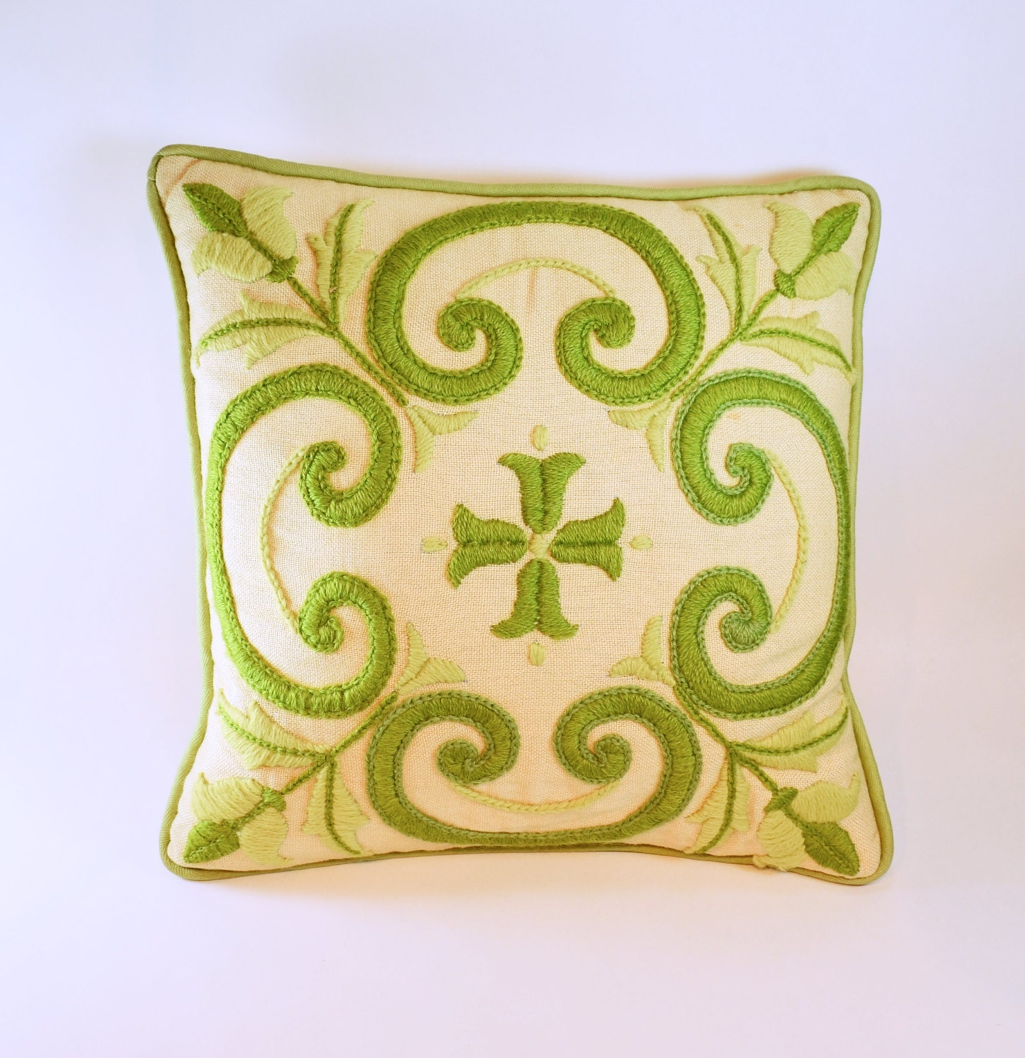 Vintage Crewel Embroidery Throw Pillow