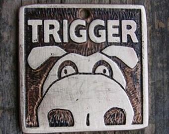 Pet Tag, Dog Tag, Pet ID, Mr. Big Nose Etched Brass Pet Tag