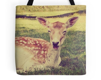 Market Tote Bag, Photo Bag, Whimsical Photography, Smiling Deer, Fawn, Nature, Shopping Bag, Farmer's Market Bag, Grocery Bag, Animal Lover