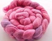 Alpaca Merino Silk combed wool top  braid - hand dyed - approx. 4 oz - Hyacinth