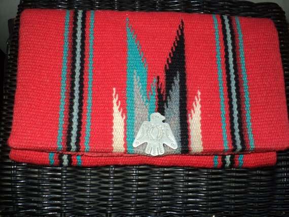 Antique Native American Chimayo Purse, Red Woven Wool Tapestry Clutch with Eagle Clasp, Highly Collectable Handbag in Very  Good Condition