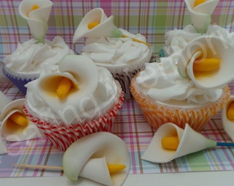 FONDANT CALLA LILLY Cupcake Toppers or cake decorations. Edible flower toppers. For any birthday and much more.