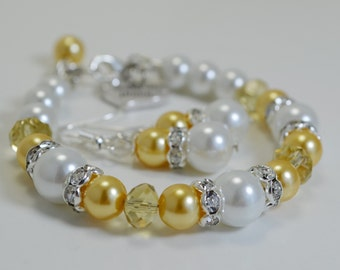 Yellow Pearl Bracelet and Earrings Set, Yellow and White Jewelry, Bridal Jewelry, Bridesmaid Pearl Jewelry,Yellow and White Wedding Combo