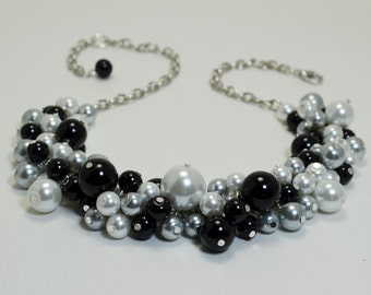 Pearl Necklace, Black, White and Gray Pearl Cluster Necklace, Pearl Bauble Necklace, Chunky Necklace, Gray Bridesmaids Pearl Necklace.