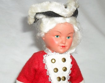 Doll Wind Up Toy Soldier Red Coat Signed West German Vintage Toy SALE