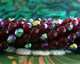 11 Strands Sale, Closeout, Destash Beads, 550 ~ 4mm Garnet AB Czech Glass Fire Polished Beads, Czech Glass Beads, Faceted Beads  DS-CZ-409